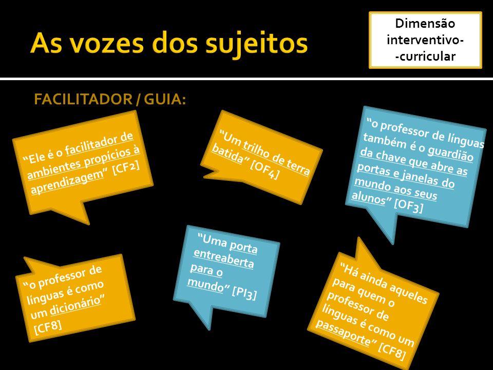 FACILITADOR / GUIA: Ele é o facilitador de ambientes propícios à aprendizagem [CF2] Um trilho de terra batida [OF4] Há ainda aqueles para quem o profe