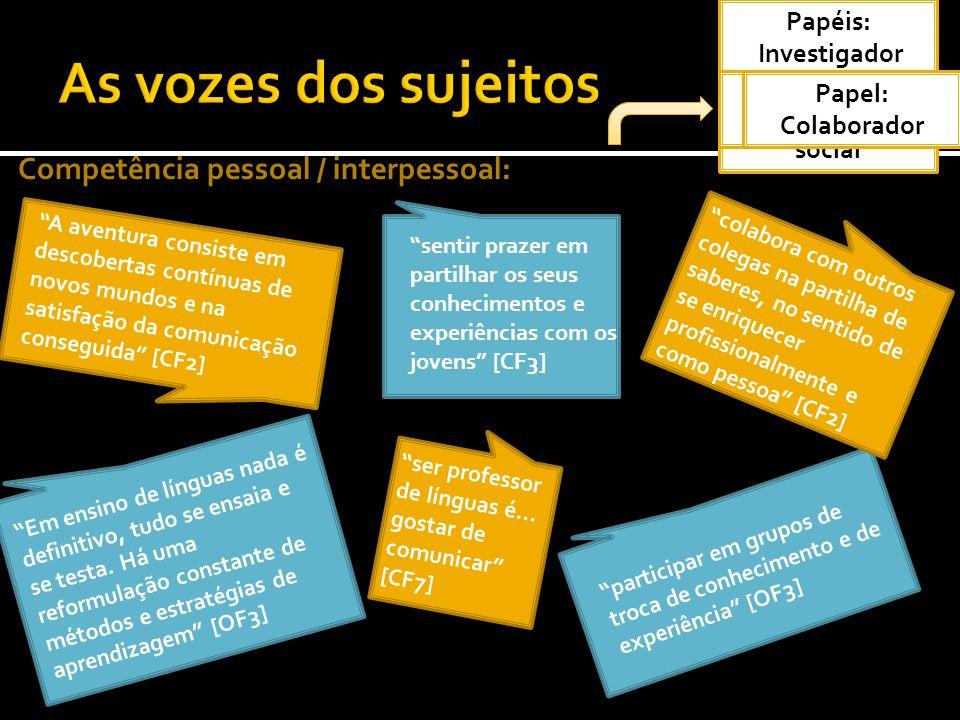 Competência pessoal / interpessoal: Em ensino de línguas nada é definitivo, tudo se ensaia e se testa. Há uma reformulação constante de métodos e estr
