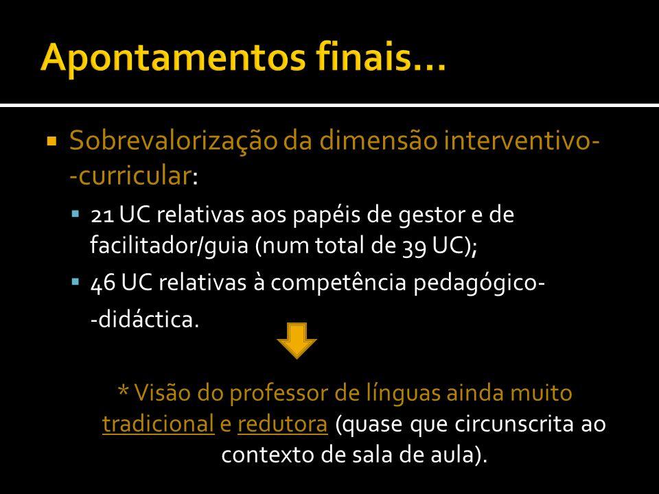 Sobrevalorização da dimensão interventivo- -curricular: 21 UC relativas aos papéis de gestor e de facilitador/guia (num total de 39 UC); 46 UC relativ
