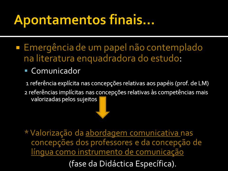 Emergência de um papel não contemplado na literatura enquadradora do estudo: Comunicador 1 referência explícita nas concepções relativas aos papéis (p