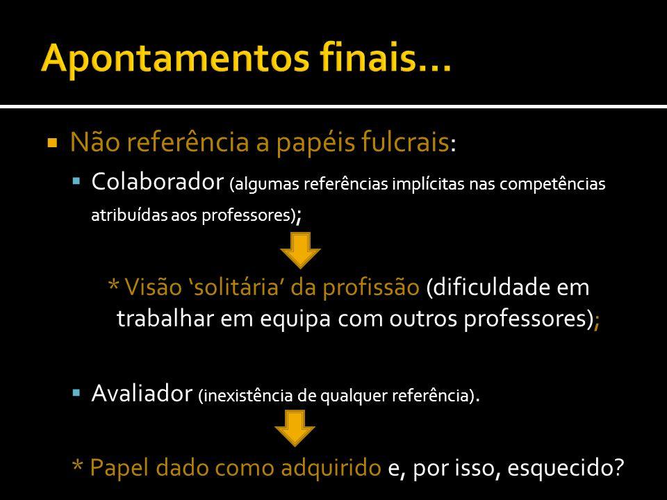 Não referência a papéis fulcrais: Colaborador (algumas referências implícitas nas competências atribuídas aos professores) ; * Visão solitária da prof