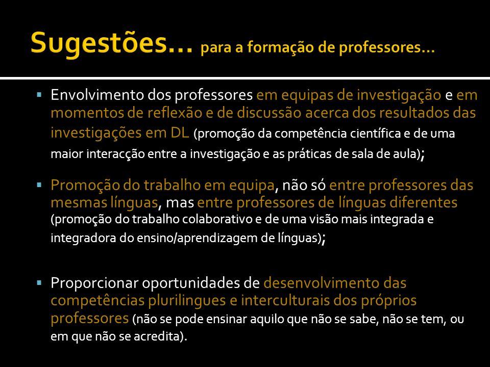 Envolvimento dos professores em equipas de investigação e em momentos de reflexão e de discussão acerca dos resultados das investigações em DL (promoç