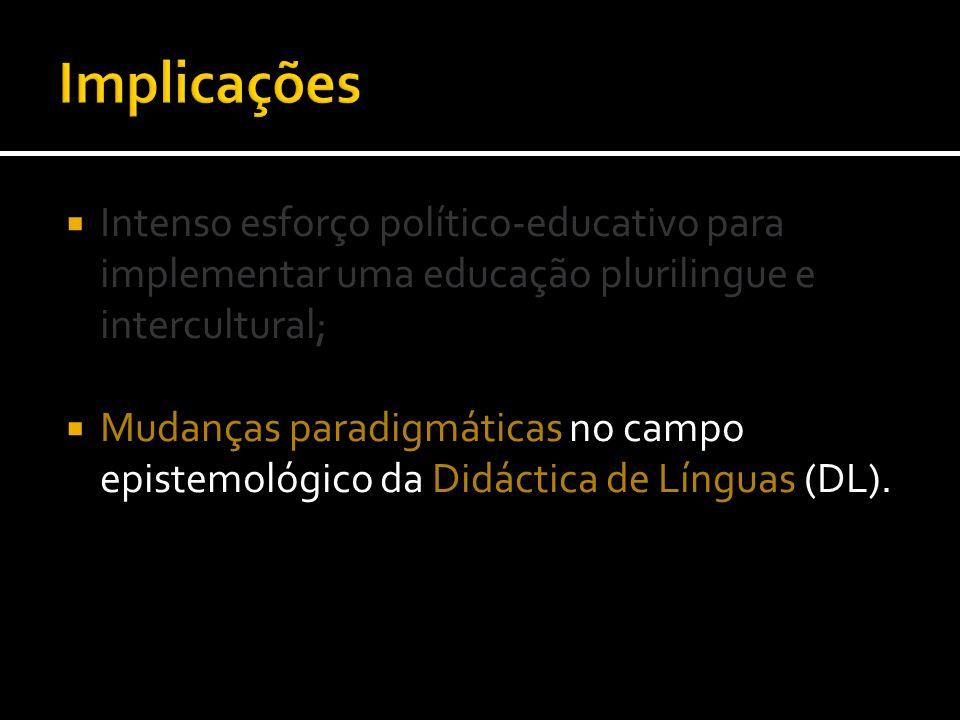 Intenso esforço político-educativo para implementar uma educação plurilingue e intercultural; Mudanças paradigmáticas no campo epistemológico da Didác