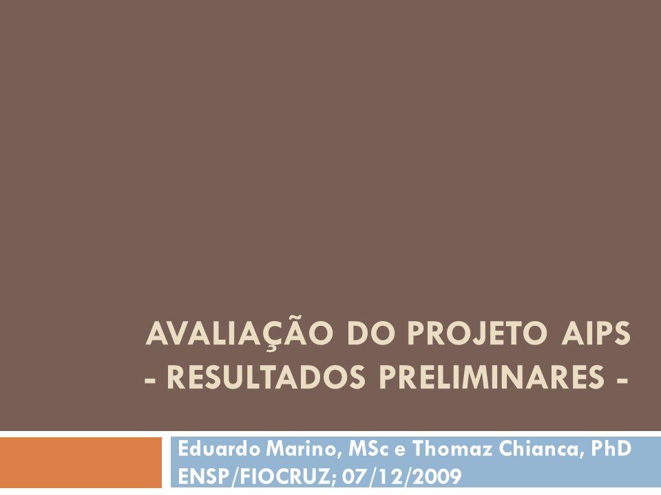 AVALIAÇÃO DO PROJETO AIPS - RESULTADOS PRELIMINARES - Eduardo Marino, MSc e Thomaz Chianca, PhD ENSP/FIOCRUZ; 07/12/2009