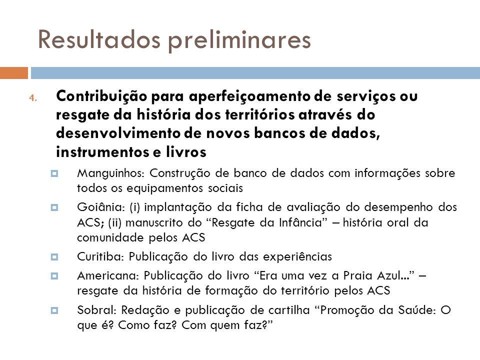 Resultados preliminares 4. Contribuição para aperfeiçoamento de serviços ou resgate da história dos territórios através do desenvolvimento de novos ba