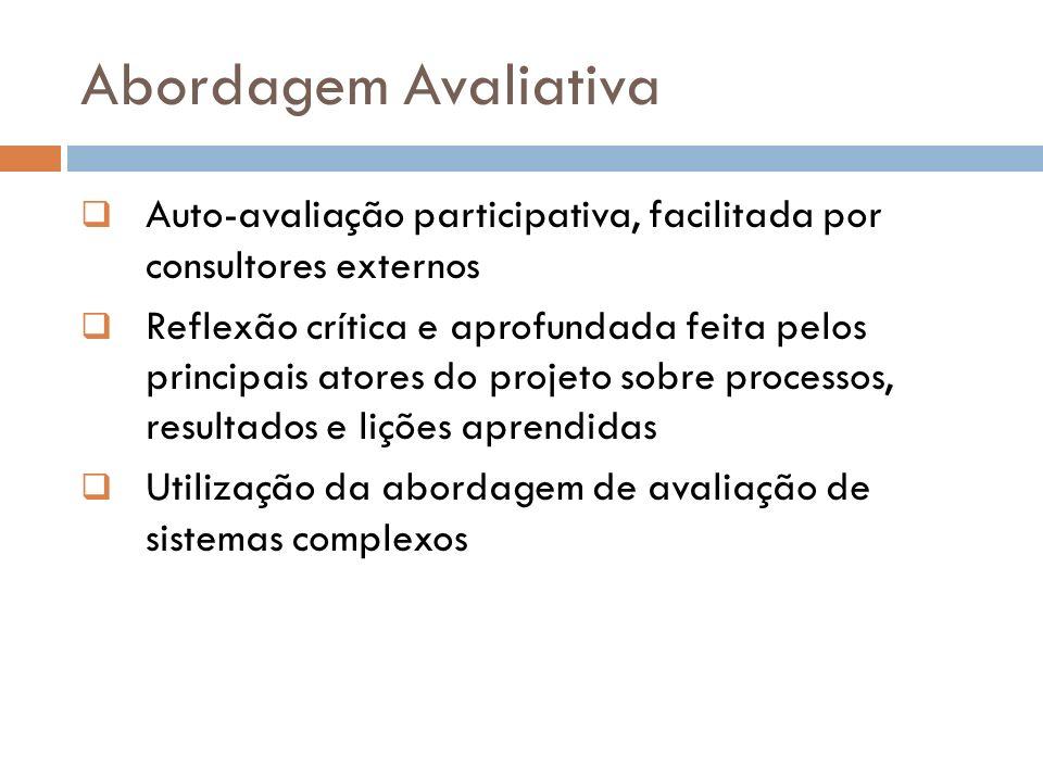Abordagem Avaliativa Auto-avaliação participativa, facilitada por consultores externos Reflexão crítica e aprofundada feita pelos principais atores do