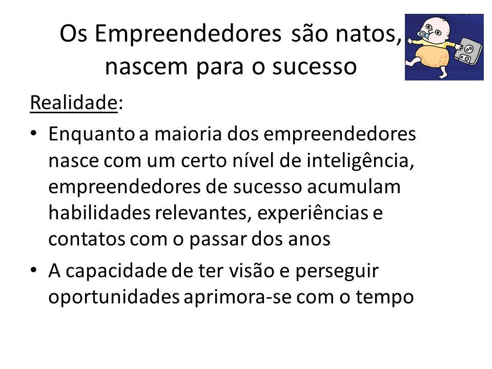 Os Empreendedores são natos, nascem para o sucesso Realidade: Enquanto a maioria dos empreendedores nasce com um certo nível de inteligência, empreend
