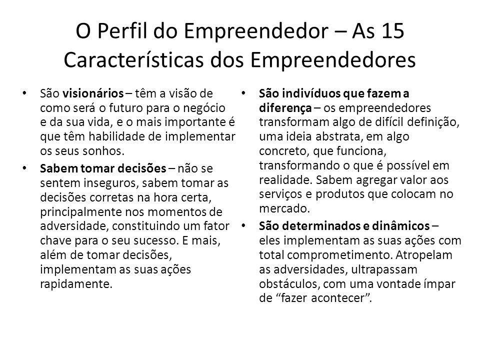 O Perfil do Empreendedor – As 15 Características dos Empreendedores São visionários – têm a visão de como será o futuro para o negócio e da sua vida,
