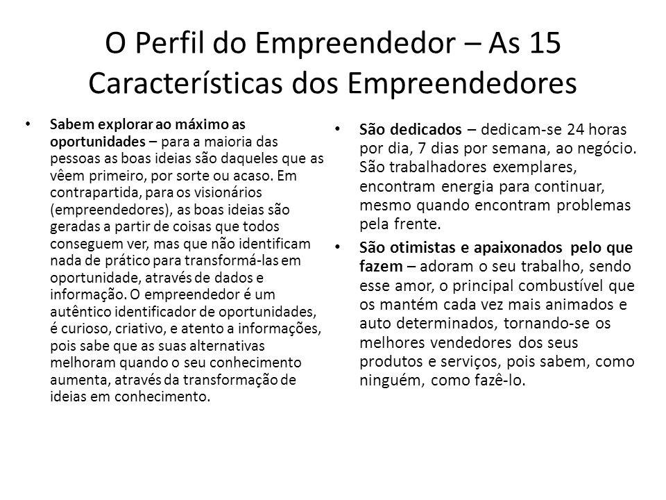 O Perfil do Empreendedor – As 15 Características dos Empreendedores Sabem explorar ao máximo as oportunidades – para a maioria das pessoas as boas ide