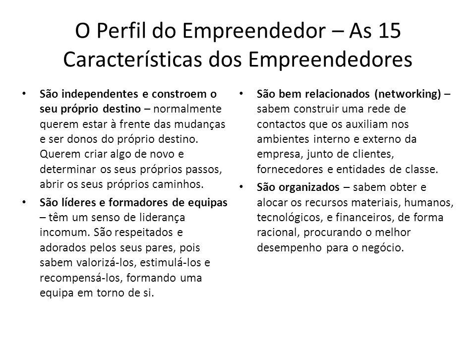 O Perfil do Empreendedor – As 15 Características dos Empreendedores São independentes e constroem o seu próprio destino – normalmente querem estar à f