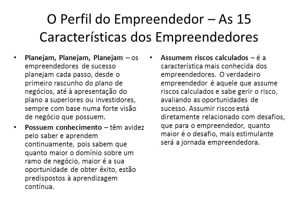 O Perfil do Empreendedor – As 15 Características dos Empreendedores Planejam, Planejam, Planejam – os empreendedores de sucesso planejam cada passo, d