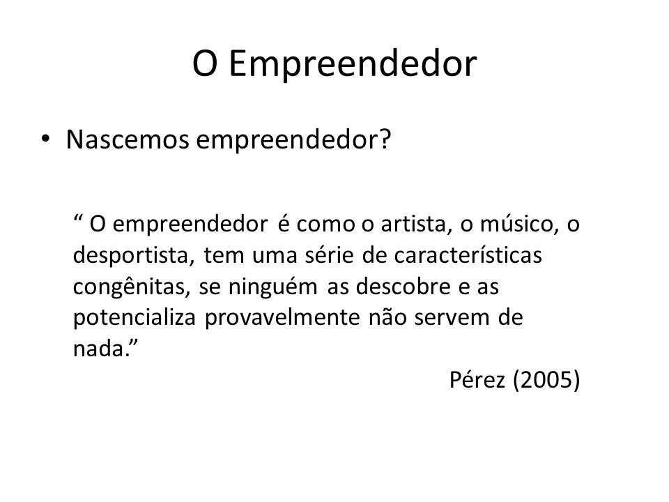 O Empreendedor Nascemos empreendedor? O empreendedor é como o artista, o músico, o desportista, tem uma série de características congênitas, se ningué