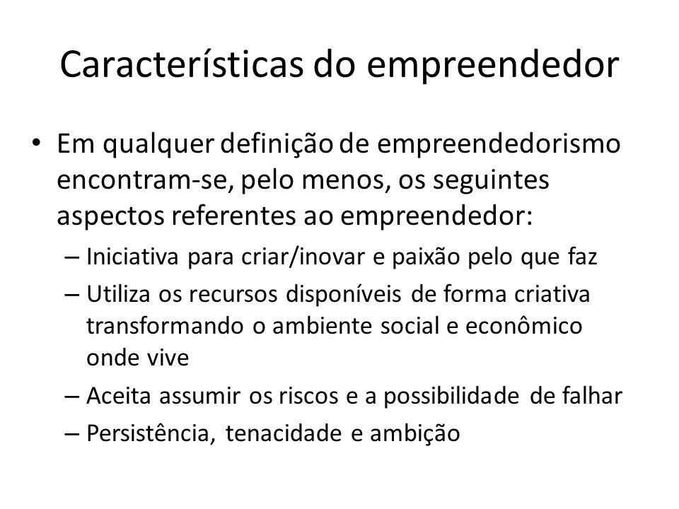 Características do empreendedor Em qualquer definição de empreendedorismo encontram-se, pelo menos, os seguintes aspectos referentes ao empreendedor: