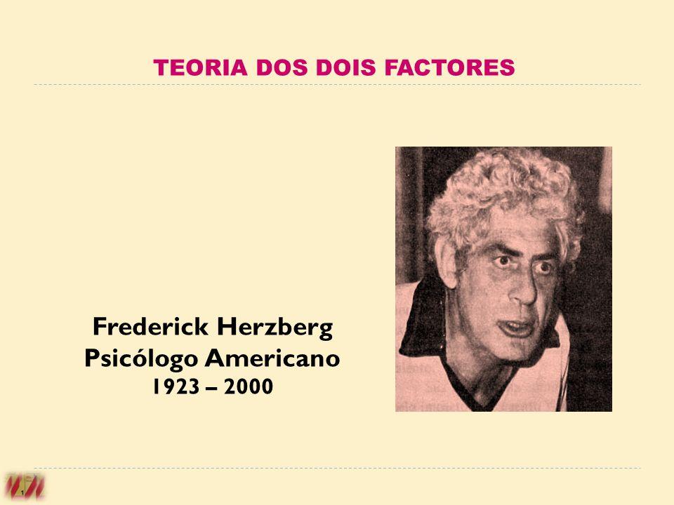 Frederick Herzberg Psicólogo Americano 1923 – 2000 TEORIA DOS DOIS FACTORES