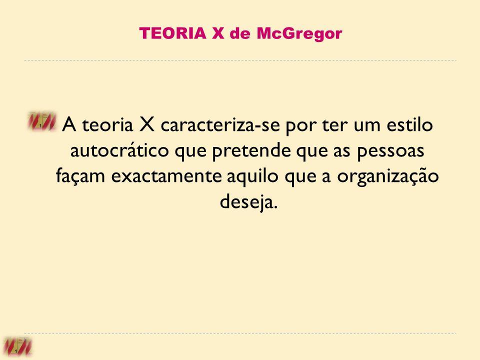 TEORIA X de McGregor A teoria X caracteriza-se por ter um estilo autocrático que pretende que as pessoas façam exactamente aquilo que a organização de