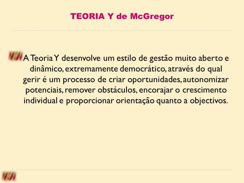 TEORIA Y de McGregor A Teoria Y desenvolve um estilo de gestão muito aberto e dinâmico, extremamente democrático, através do qual gerir é um processo