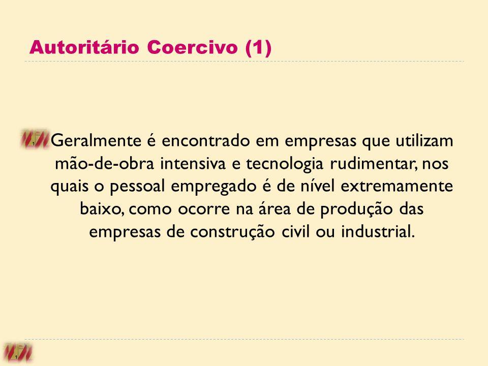 Autoritário Coercivo (1) Geralmente é encontrado em empresas que utilizam mão-de-obra intensiva e tecnologia rudimentar, nos quais o pessoal empregado