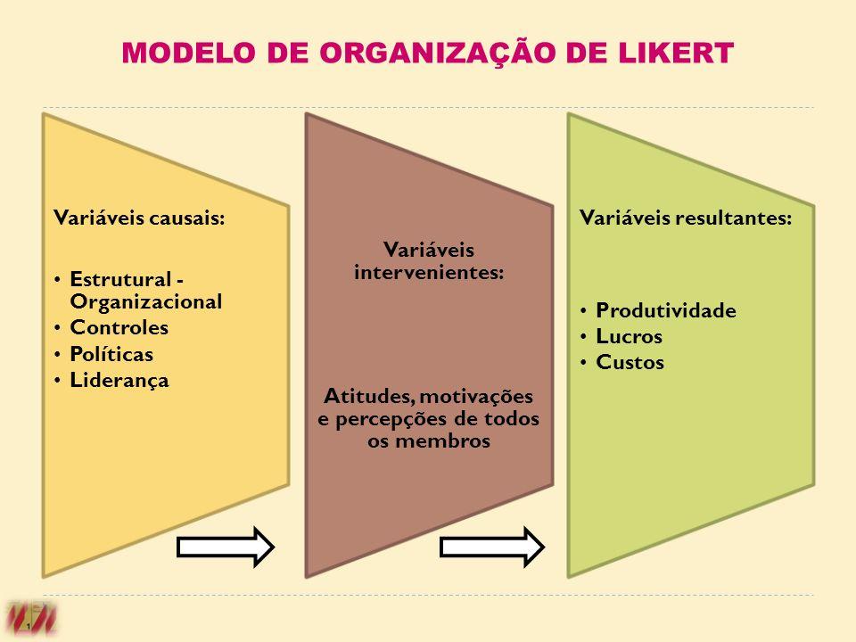 Variáveis causais: Estrutural - Organizacional Controles Políticas Liderança Variáveis intervenientes: Atitudes, motivações e percepções de todos os m
