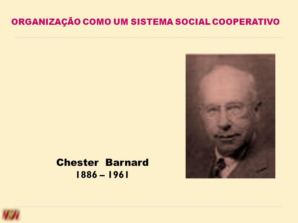 Chester Barnard 1886 – 1961 ORGANIZAÇÃO COMO UM SISTEMA SOCIAL COOPERATIVO