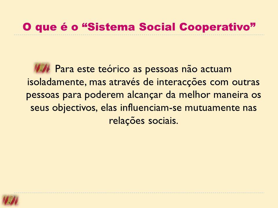 O que é o Sistema Social Cooperativo Para este teórico as pessoas não actuam isoladamente, mas através de interacções com outras pessoas para poderem