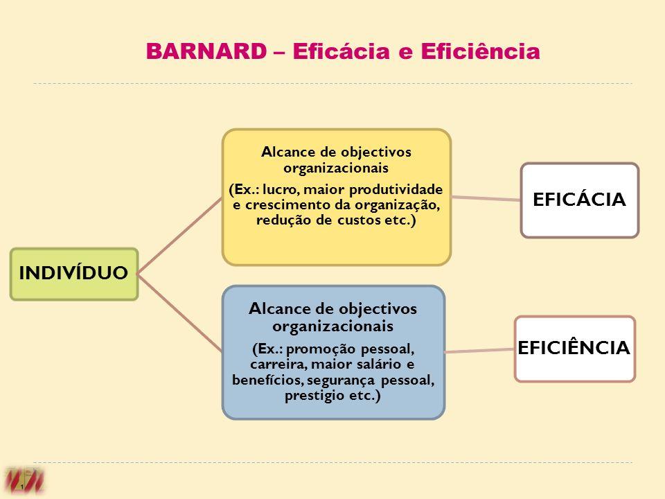 INDIVÍDUO Alcance de objectivos organizacionais (Ex.: lucro, maior produtividade e crescimento da organização, redução de custos etc.) EFICÁCIA Alcanc