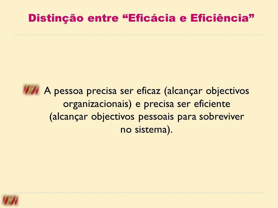Distinção entre Eficácia e Eficiência A pessoa precisa ser eficaz (alcançar objectivos organizacionais) e precisa ser eficiente (alcançar objectivos p