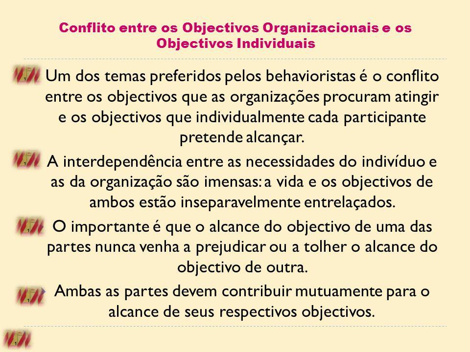 Conflito entre os Objectivos Organizacionais e os Objectivos Individuais Um dos temas preferidos pelos behavioristas é o conflito entre os objectivos