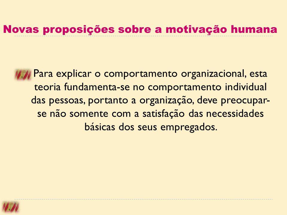 Novas proposições sobre a motivação humana Para explicar o comportamento organizacional, esta teoria fundamenta-se no comportamento individual das pes