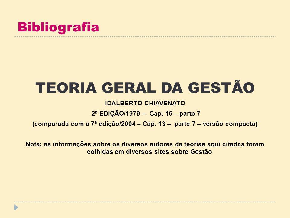 Bibliografia TEORIA GERAL DA GESTÃO IDALBERTO CHIAVENATO 2ª EDIÇÃO/1979 – Cap. 15 – parte 7 (comparada com a 7ª edição/2004 – Cap. 13 – parte 7 – vers