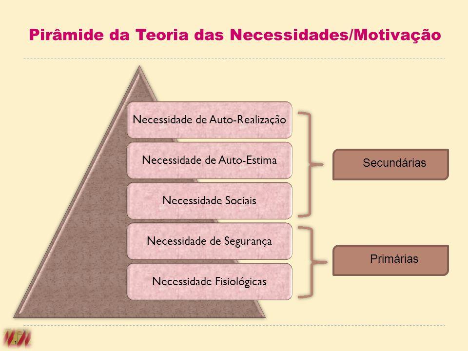 Pirâmide da Teoria das Necessidades/Motivação Necessidade de Auto-RealizaçãoNecessidade de Auto-EstimaNecessidade SociaisNecessidade de SegurançaNeces