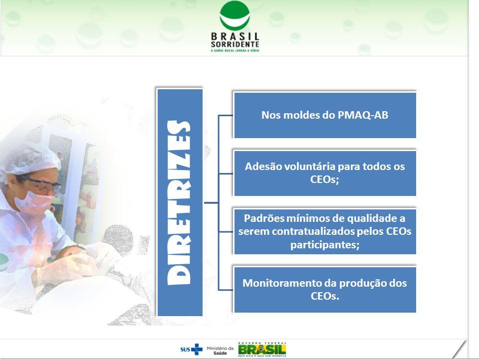 Diretrizes Nos moldes do PMAQ-AB Adesão voluntária para todos os CEOs; Padrões mínimos de qualidade a serem contratualizados pelos CEOs participantes;