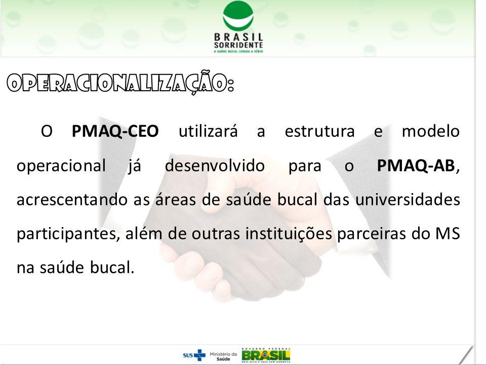 O PMAQ-CEO utilizará a estrutura e modelo operacional já desenvolvido para o PMAQ-AB, acrescentando as áreas de saúde bucal das universidades particip