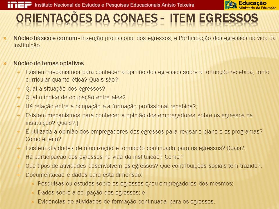 Núcleo básico e comum - Inserção profissional dos egressos; e Participação dos egressos na vida da Instituição.