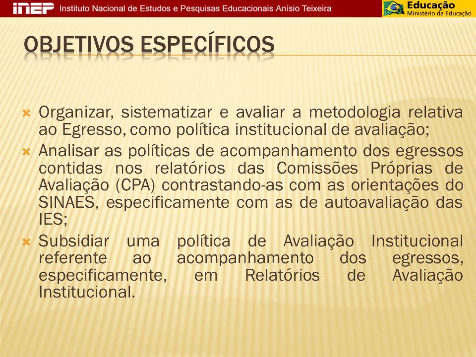 Organizar, sistematizar e avaliar a metodologia relativa ao Egresso, como política institucional de avaliação; Analisar as políticas de acompanhamento dos egressos contidas nos relatórios das Comissões Próprias de Avaliação (CPA) contrastando-as com as orientações do SINAES, especificamente com as de autoavaliação das IES; Subsidiar uma política de Avaliação Institucional referente ao acompanhamento dos egressos, especificamente, em Relatórios de Avaliação Institucional.