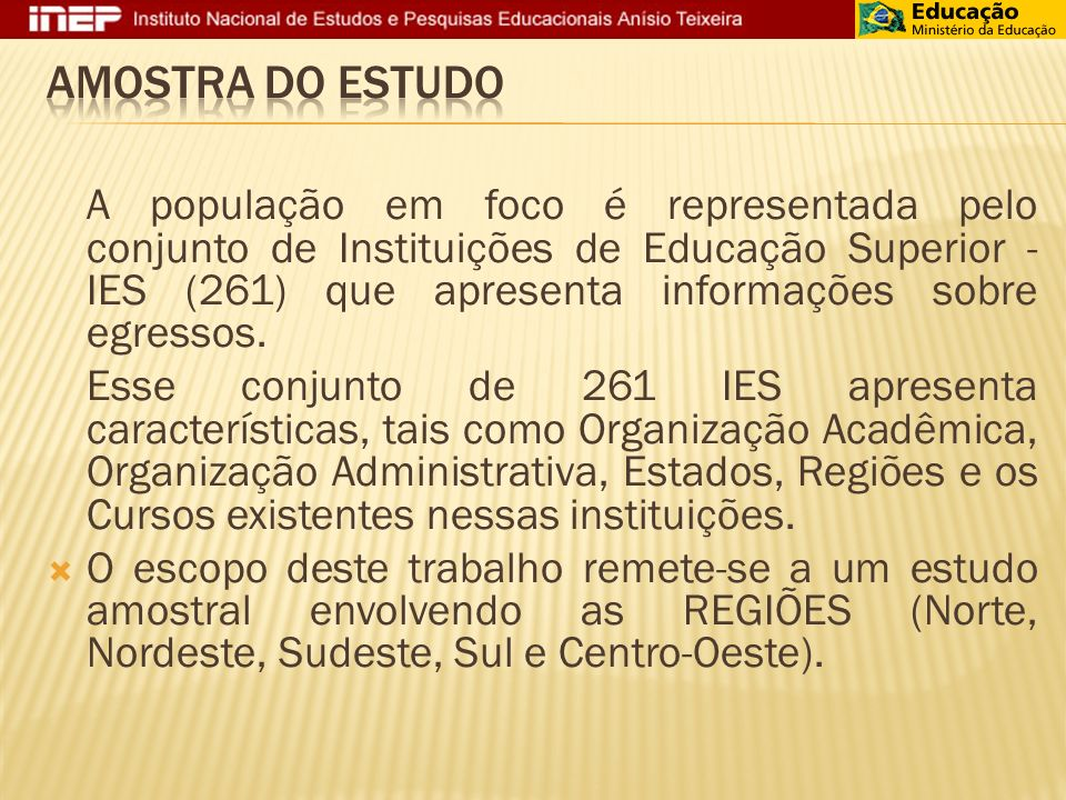 A população em foco é representada pelo conjunto de Instituições de Educação Superior - IES (261) que apresenta informações sobre egressos.