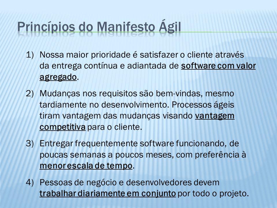 1)Nossa maior prioridade é satisfazer o cliente através da entrega contínua e adiantada de software com valor agregado. 2)Mudanças nos requisitos são