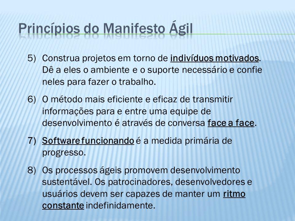 5)Construa projetos em torno de indivíduos motivados. Dê a eles o ambiente e o suporte necessário e confie neles para fazer o trabalho. 6)O método mai