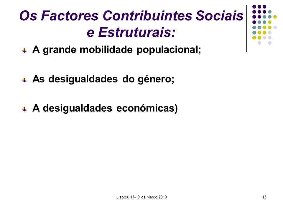 Lisboa, 17-19 de Março 201013 Os Factores Contribuintes Sociais e Estruturais: A grande mobilidade populacional; As desigualdades do género; A desigua