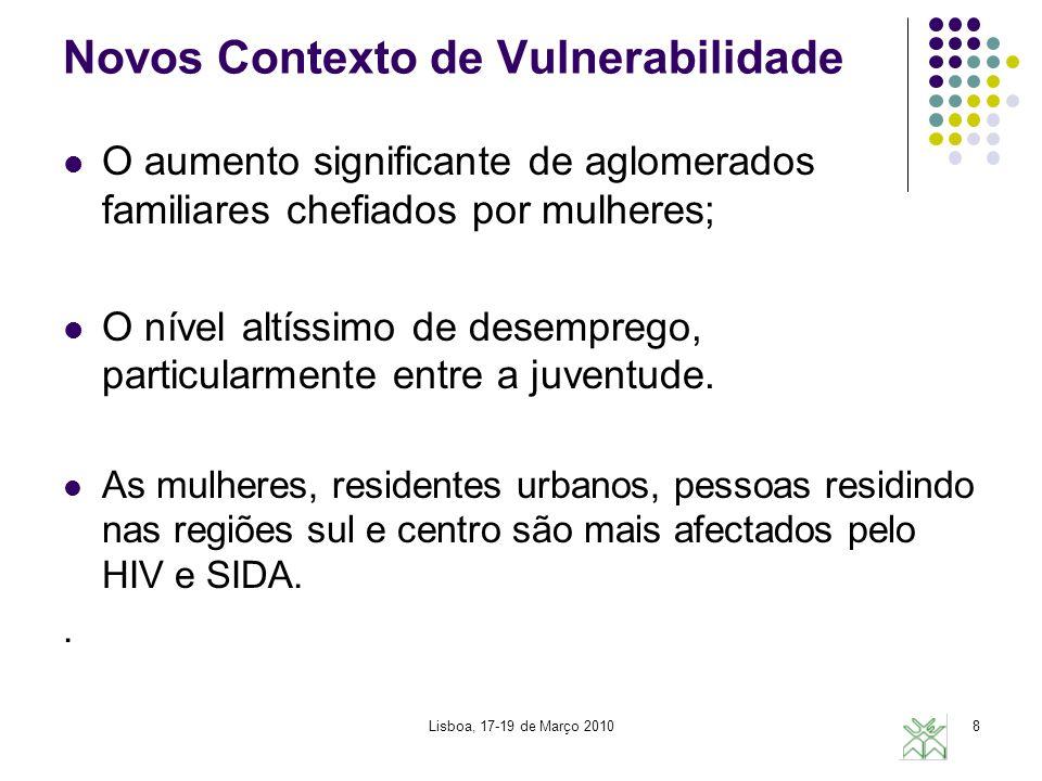Lisboa, 17-19 de Março 20109 Novos Contexto de Vulnerabilidade A pobreza é a causa mais visível da vulnerabilidade das mulheres e das crianças.