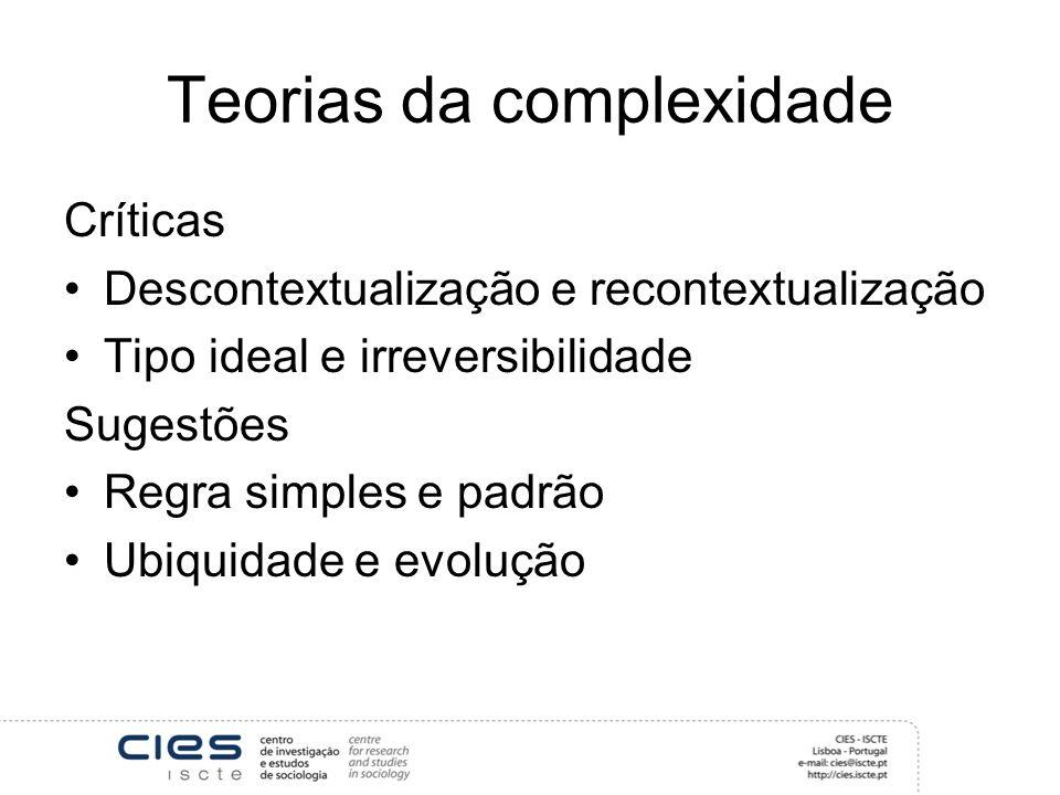 Teorias da complexidade Críticas Descontextualização e recontextualização Tipo ideal e irreversibilidade Sugestões Regra simples e padrão Ubiquidade e