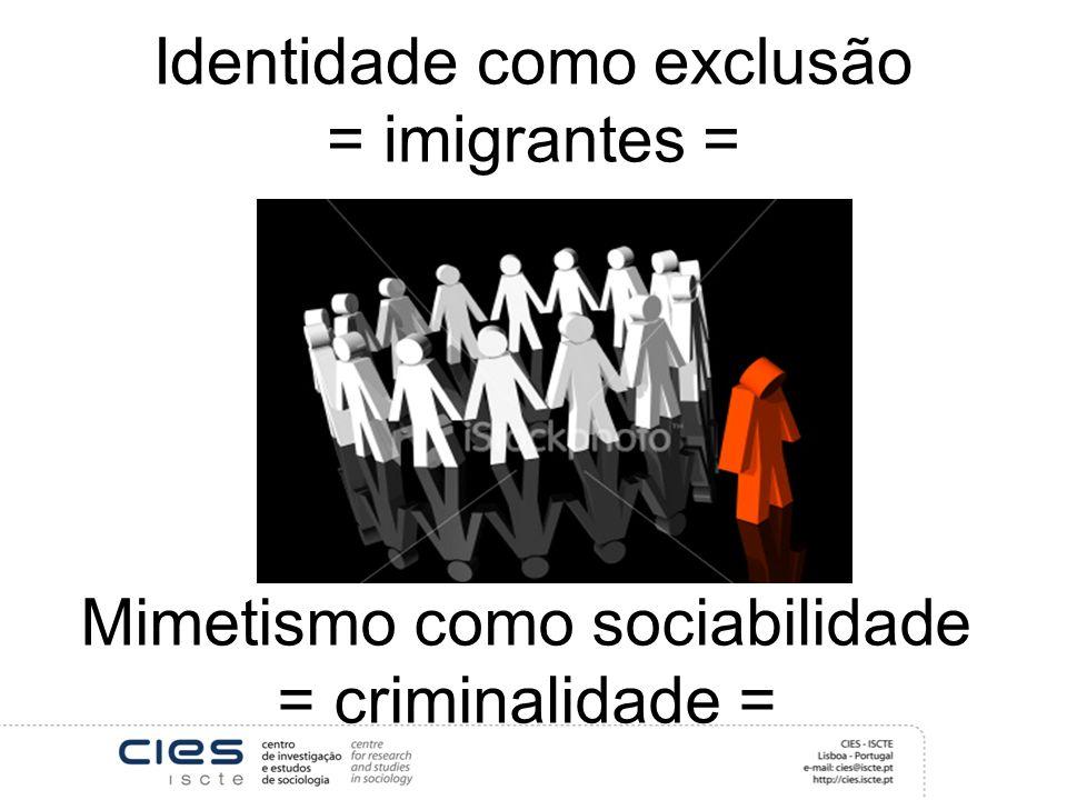 Identidade como exclusão = imigrantes = Mimetismo como sociabilidade = criminalidade =