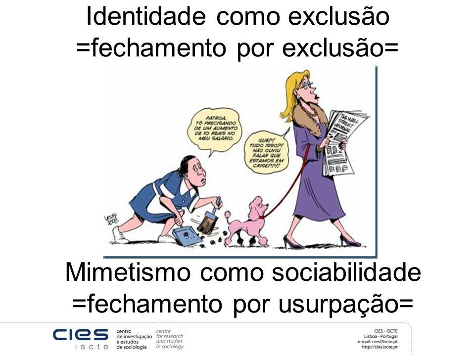 Identidade como exclusão =fechamento por exclusão= Mimetismo como sociabilidade =fechamento por usurpação=