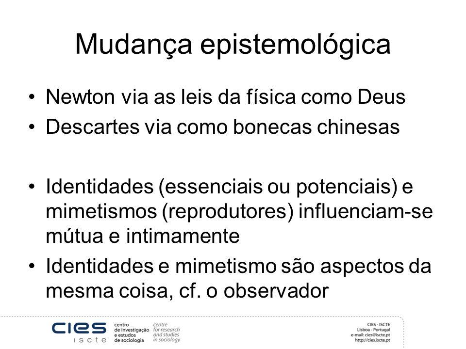 Mudança epistemológica Newton via as leis da física como Deus Descartes via como bonecas chinesas Identidades (essenciais ou potenciais) e mimetismos
