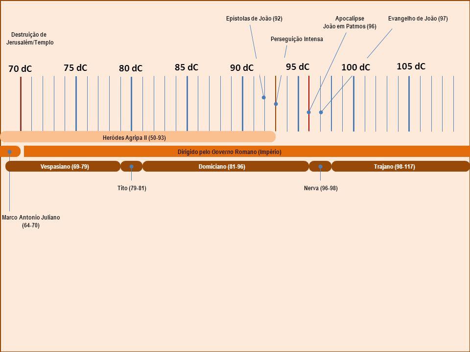 Tito (79-81) Domiciano (81-96) Nerva (96-98) Trajano (98-117) Marco Antonio Juliano (64-70) Dirigido pelo Governo Romano (Império) Heródes Agripa II (