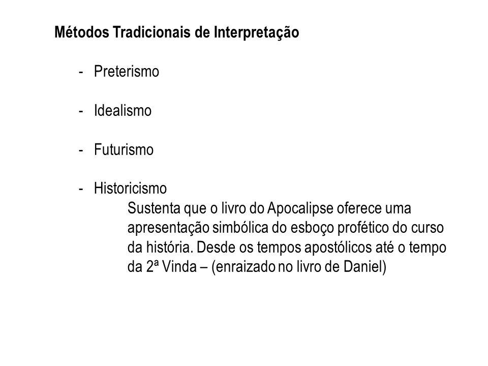 Métodos Tradicionais de Interpretação -Preterismo -Idealismo -Futurismo -Historicismo Sustenta que o livro do Apocalipse oferece uma apresentação simb