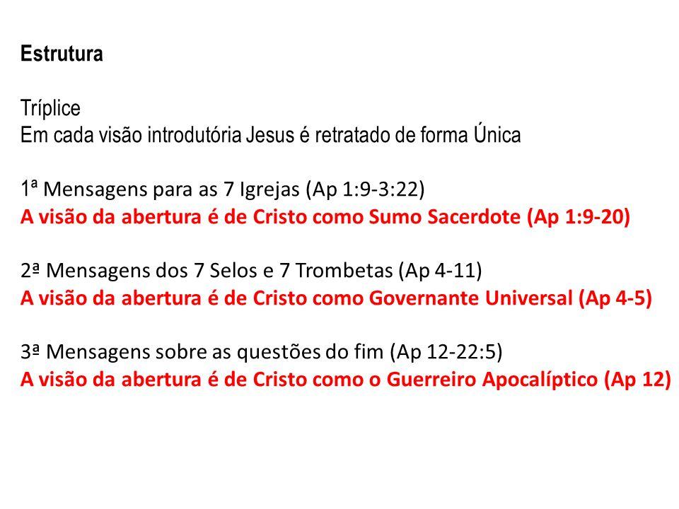 Estrutura Tríplice Em cada visão introdutória Jesus é retratado de forma Única 1ª Mensagens para as 7 Igrejas (Ap 1:9-3:22) A visão da abertura é de C