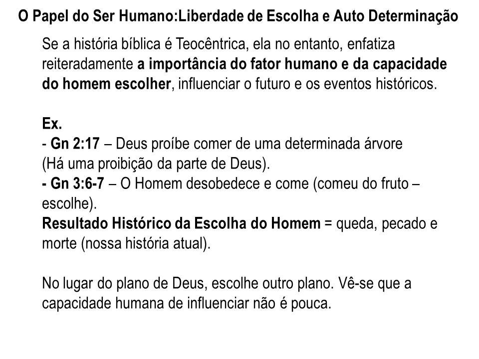 O Papel do Ser Humano:Liberdade de Escolha e Auto Determinação Se a história bíblica é Teocêntrica, ela no entanto, enfatiza reiteradamente a importân