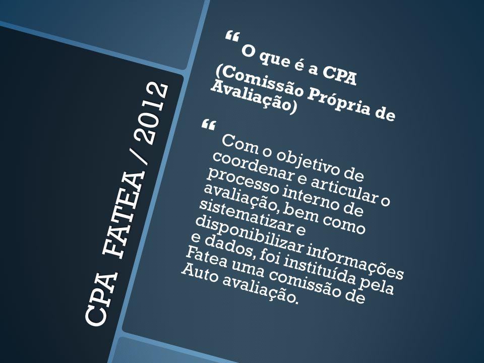 CPA FATEA / 2012 O que é a CPA (Comissão Própria de Avaliação) Com o objetivo de coordenar e articular o processo interno de avaliação, bem como siste