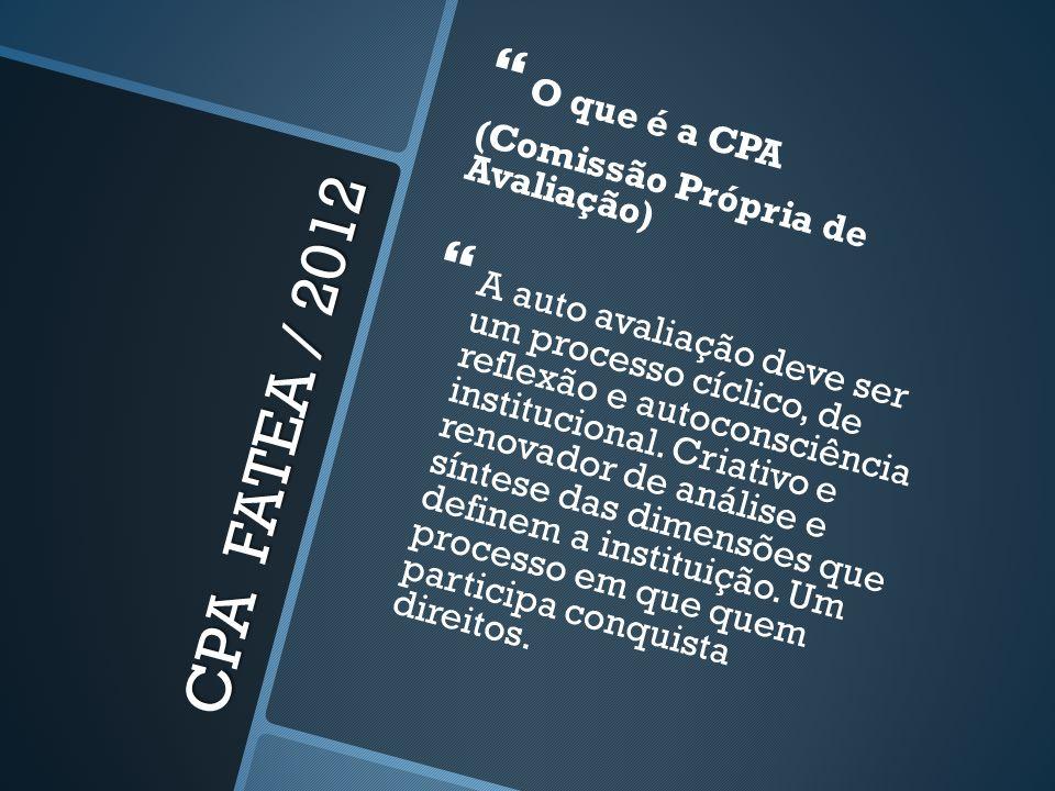 CPA FATEA / 2012 O que é a CPA (Comissão Própria de Avaliação) A auto avaliação deve ser um processo cíclico, de reflexão e autoconsciência institucio