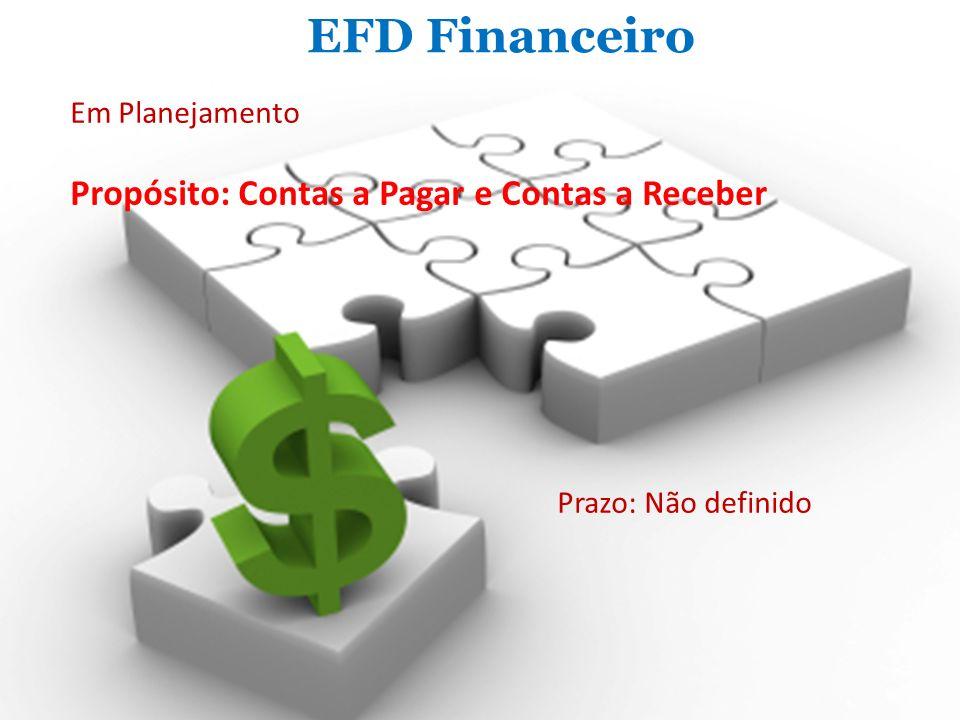 EFD Financeiro Em Planejamento Propósito: Contas a Pagar e Contas a Receber Prazo: Não definido